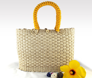Helena - Mommy and Me Set - Iraca Palm Authentic Handmade Handbag with yellow handle Wholesale
