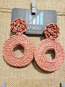 Nicole - Iraca Palm Leaf Handwoven Earrings Wholesale