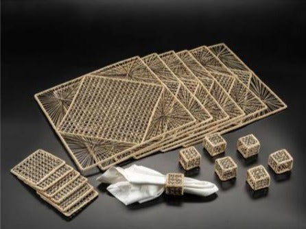 Iraca Palm Square Placemats with Coasters Wholesale