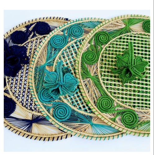 Iraca Palm Woven Round Colored and Natural Placemats with Coasters Wholesale