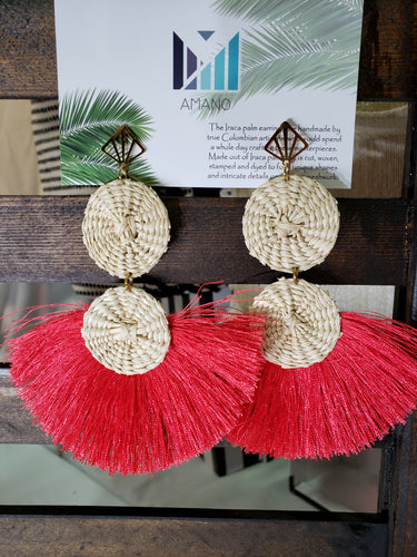 Alicia - Iraca Palm Leaf Handwoven Earrings Wholesale