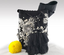 Load image into Gallery viewer, Julia - Black Wayuu Mochila with pearl and embroidered flower accents