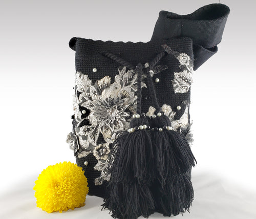 Julia - Black Wayuu Mochila with pearl and embroidered flower accents