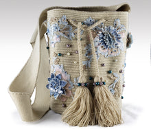 Load image into Gallery viewer, La Azulada - Wayuu Mochila with pearls, embroidered and sequins accents