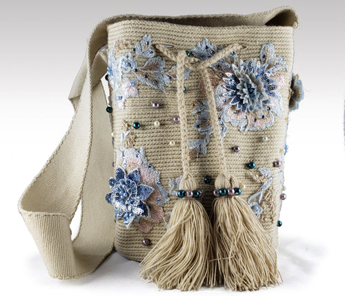 La Azulada - Wayuu Mochila with pearls, embroidered and sequins accents