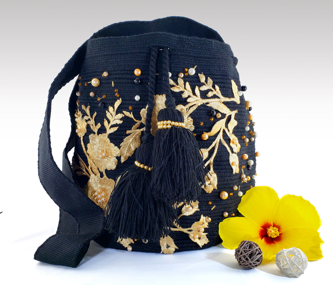 La Negra - Black Wayuu Mochila with pearl and embroidered accents