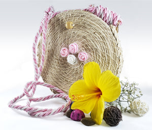 Pastel - Iraca Palm Authentic Handmade Round Handbag with rose accents