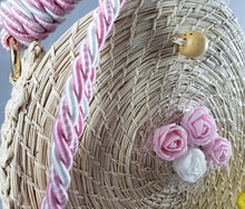 Load image into Gallery viewer, Pastel - Iraca Palm Authentic Handmade Round Handbag with rose accents