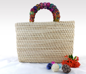 Roberta - Iraca Palm Authentic Handmade Handbag with multicolored handle Wholesale