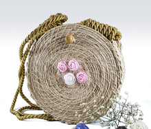 Load image into Gallery viewer, Rosa- Iraca Palm Authentic Handmade Round Handbag with rose accents