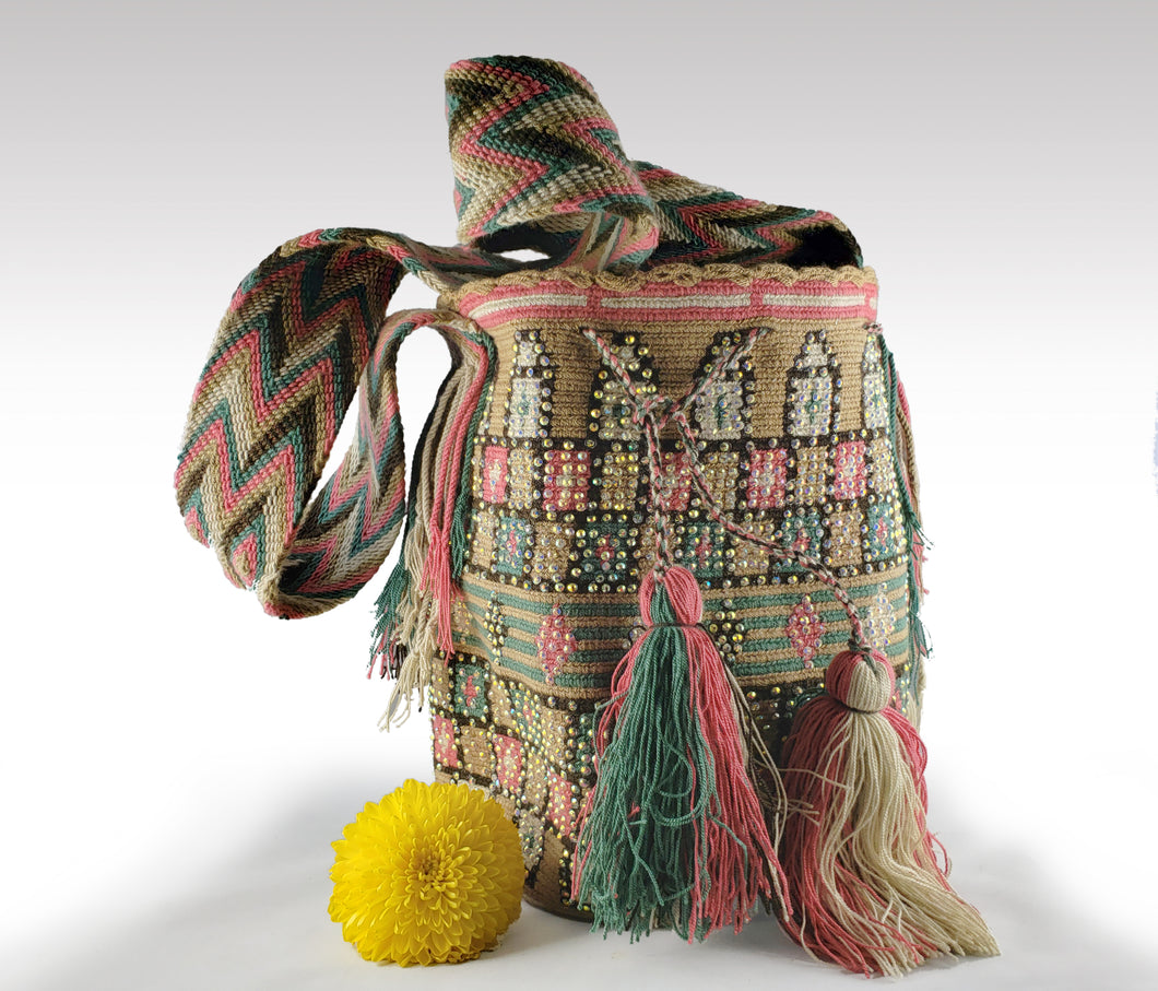 Tatiana - Wayuu Authentic Mochila Bag with Crystals