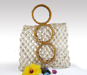Fabiola - Boho Natural Macrame Braided Handmade Bag with orange handles