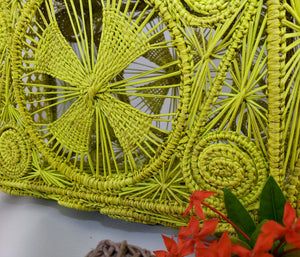 Ivania Yellow Iraca Palm Handmade Geometric Bag