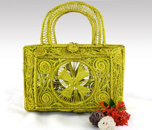 Load image into Gallery viewer, Ivania Yellow Iraca Palm Handmade Geometric Bag
