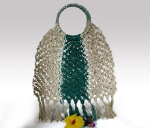 Load image into Gallery viewer, Karyn - Boho Green and Natural Macrame Braided Handmade Bag