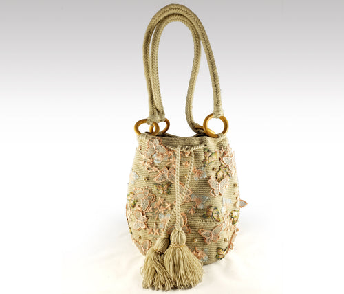 La Bonita - Wayuu Mochila with pearls, embroidered butterfly accents