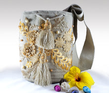 Load image into Gallery viewer, La Gris - Wayuu Mochila with pearl and embroidered accents