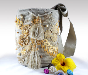 La Gris - Wayuu Mochila with pearl and embroidered accents