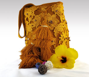 La Naranja - Wayuu Mochila with pearl and embroidered accents Wholesale