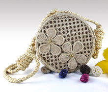 Load image into Gallery viewer, Margarita - Iraca Palm Authentic Handmade Round Handbag with flower accents