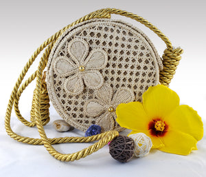 Margarita - Iraca Palm Authentic Handmade Round Handbag with flower accents
