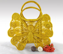 "Load image into Gallery viewer, ""Mariposa"" Yellow Iraca Palm Handmade Bag - Wholesale"