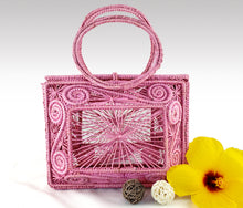 Load image into Gallery viewer, Sofia -  Pink Iraca Palm Handmade Geometric Bag