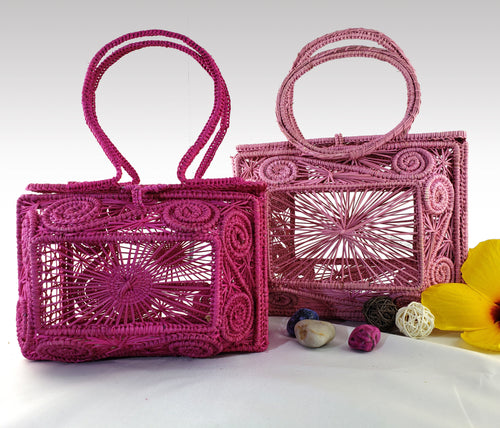 Geometricas - Mommy and Me Matching Iraca Palm Handbags Wholesale