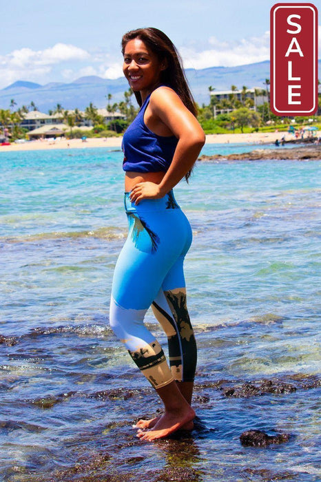 Asana Hawaii Yoga Capri Leggings ʻAnaehoʻomalu Beach Palms Yoga Capri Leggings