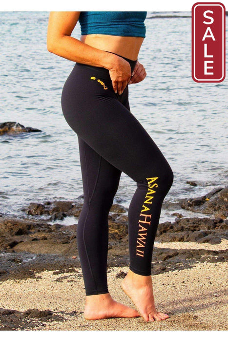 Asana Hawaii Performance Leggings Loko Wai High Rise Waistband Leggings