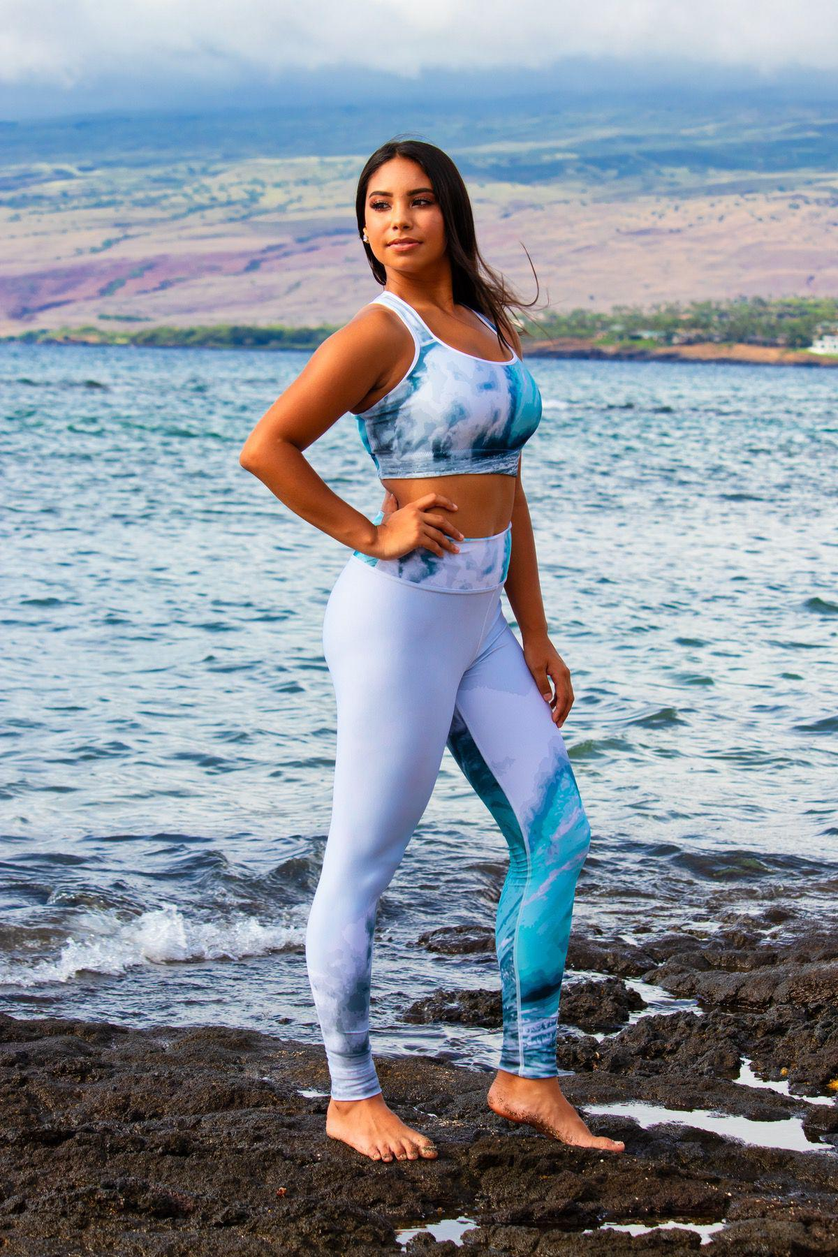 Miss Kilauea Teen Hawai'i USA wearing the Big Wave Yoga Set