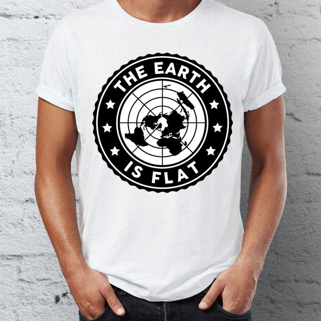 Men's T Shirt Flat Earth Retro Funny Sarcasm Tee