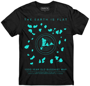2019 Fashion Flat Earth T-Shirt, Buddhist Map, Earth Is Flat, Firmament Unisex Tee