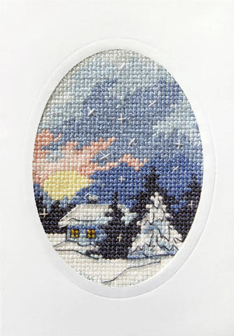 Orchidea Stamped Cross Stitch Card Kit - Winter Night