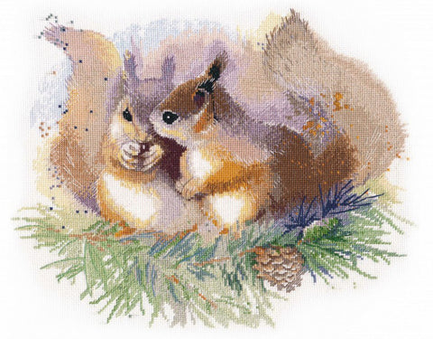 Oven Cross Stitch Kit - Squirrels