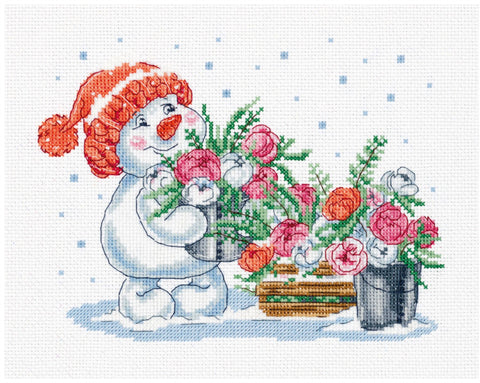 Panna Klart Cross Stitch Kit - Pink Winter