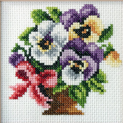 Orchidea Stamped Cross Stitch Kit - Pansy