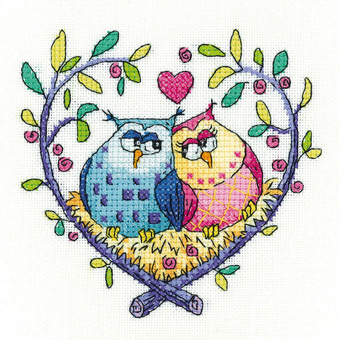 Heritage Crafts Birds Of A Feather Cross Stitch Kit - Love Owls (Aida)