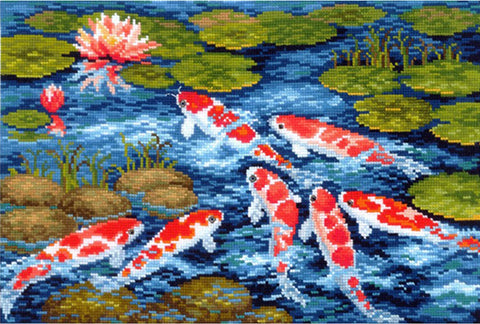 Andriana Cross Stitch kit - Koi Carp Pond