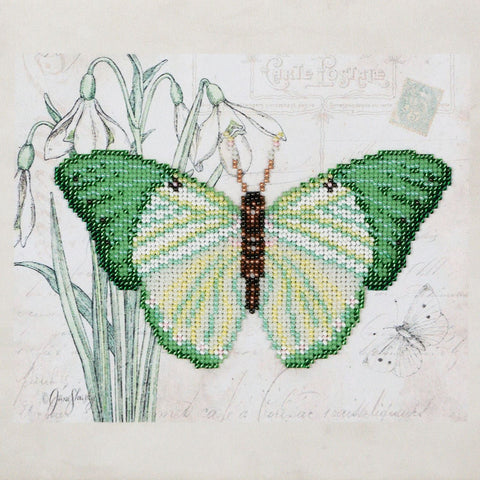 VDV Bead Embroidery Kit - Green Butterfly