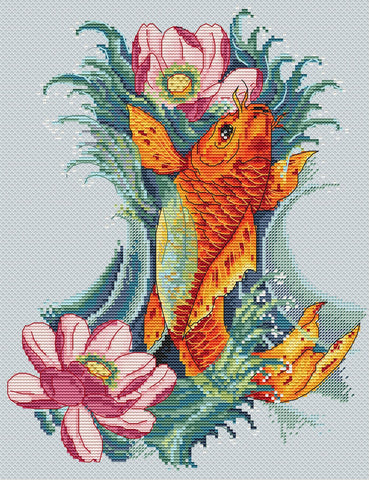 Merejka Cross Stitch Kit - Golden Koi