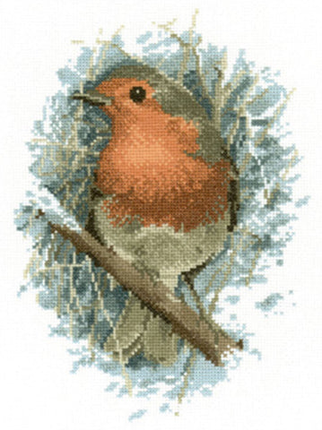 Heritage Crafts Cross Stitch Kit - Robin Redbreast (Aida)