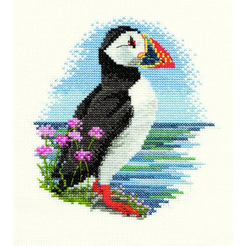 Derwentwater Designs Birds Cross Stitch Kit - Puffin