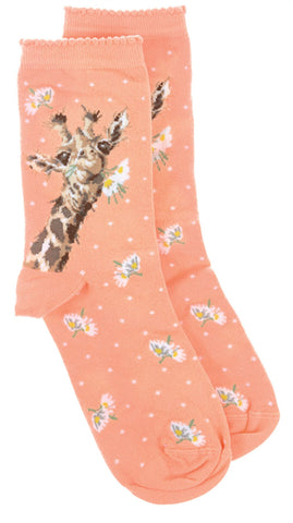 Wrendale Designs Giraffe Sock with Gift Bag - Flowers