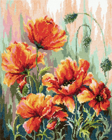 Magic Needle Cross Stitch Kit - Poppies in the Morning Light