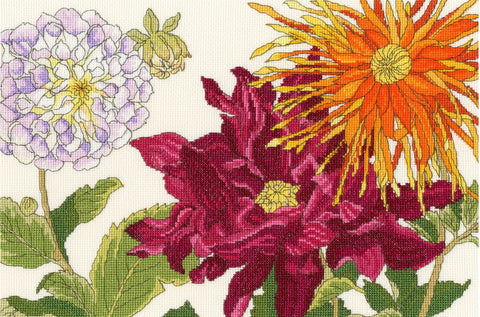 Bothy Threads Cross Stitch Kit - Dahlia Blooms