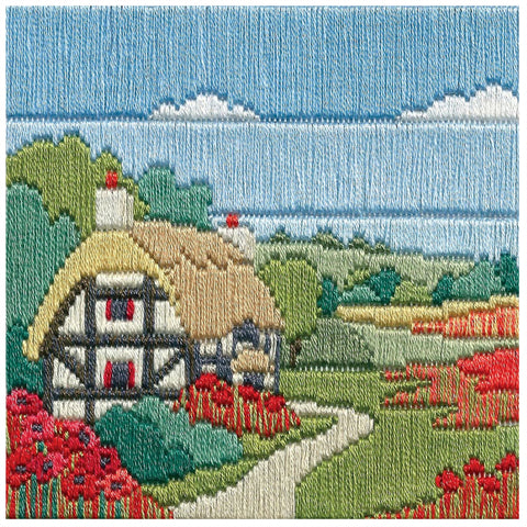 Derwentwater Designs Silken Long Stitch Kit - Poppy Cottage