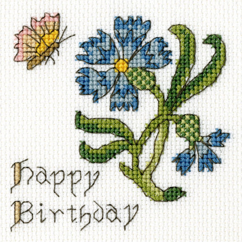 Bothy Threads Cross Stitch Card Kit - Cornflower Card