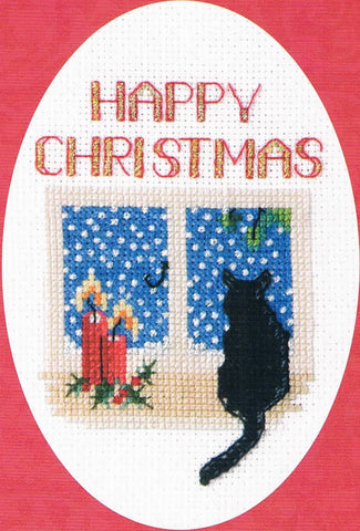 Derwentwater Designs Christmas Cross Stitch Card Kit - Christmas Cat