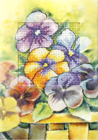 Orchidea Cross Stitch Card Kit - Pansies